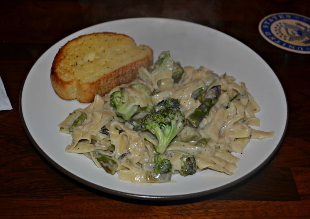 Homemade Alfredo Sauce with Fettuccine, Broccoli, and Asparagus