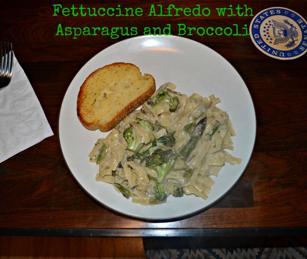 Fettuccine Alfredo with Broccoli and Asparagus