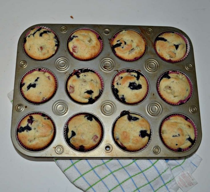 Spring Time with Blueberry and Rhubarb Muffins!