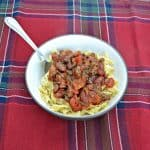 Tres Carne Fire Roasted Garlic Chili over Egg Noodles  #SundaySupper #McSkilletSauce