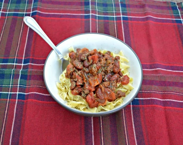 Delicious Tres Carne Fire Roasted Chili over top of Egg Noodles