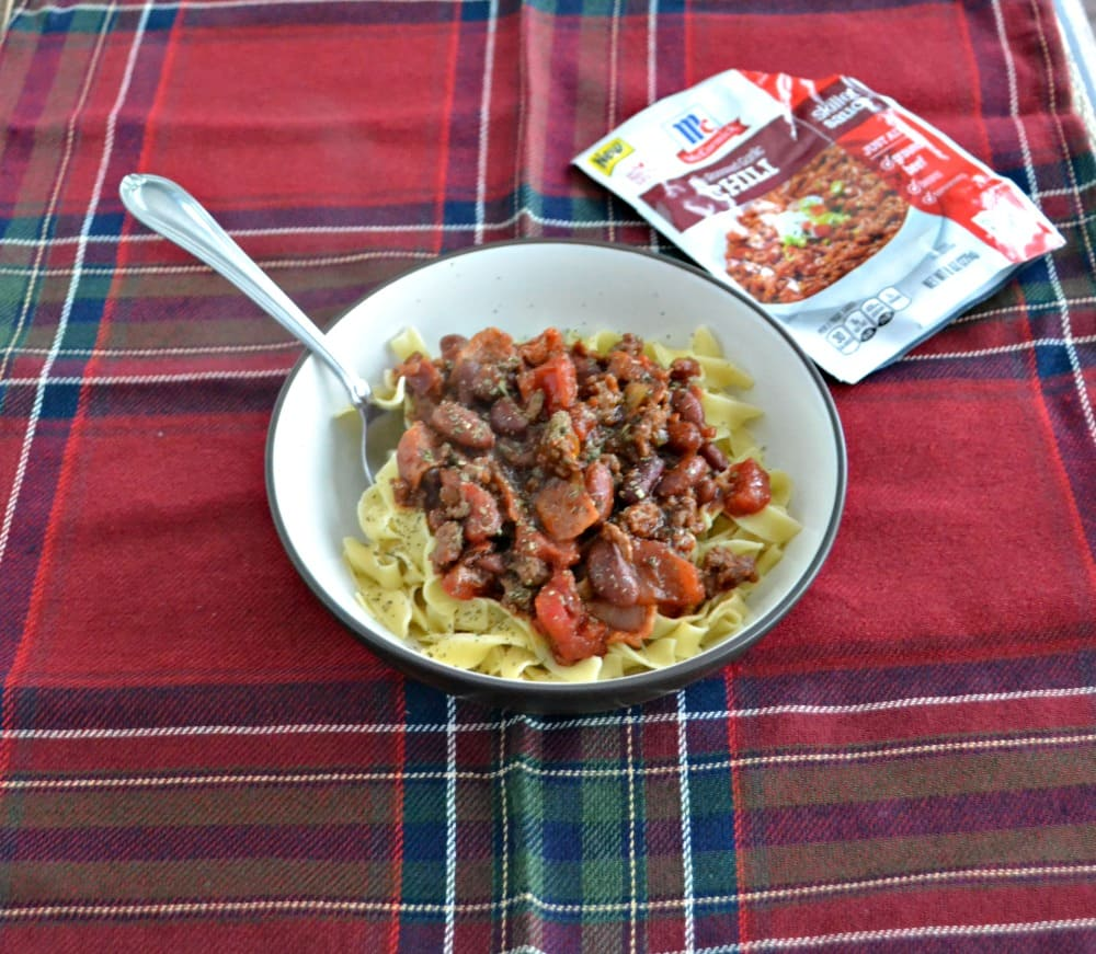 Tres Carne Fire Roasted Chili with egg noodles