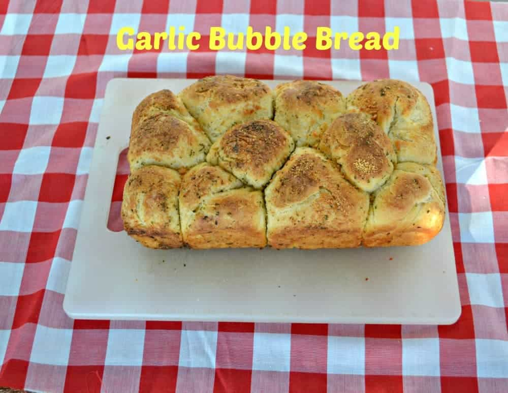 Garlic Bubble Bread is a homemade bread dipped in garlic butter and baked into a pull apart bread