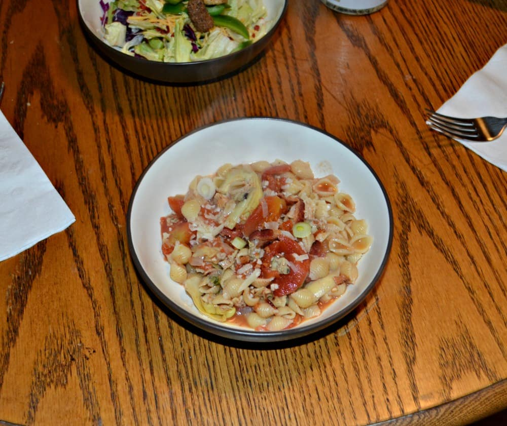 Pasta with Artichoke Clam Sauce and Bacon