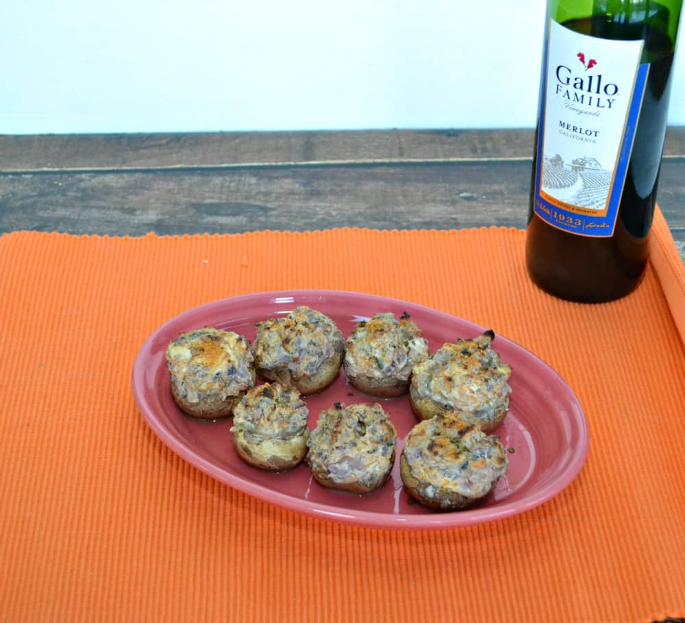 Spicy Stuffed Mushrooms with Chorizo, Jalapenos, Merlot, and cheese