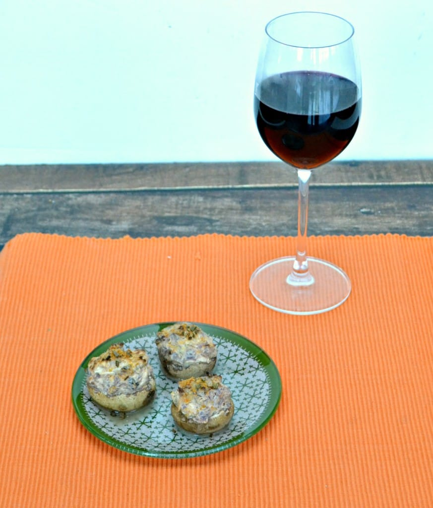 The perfect pairing:  Gallo Family Vineyards Merlot and Spicy Stuffed Mushrooms