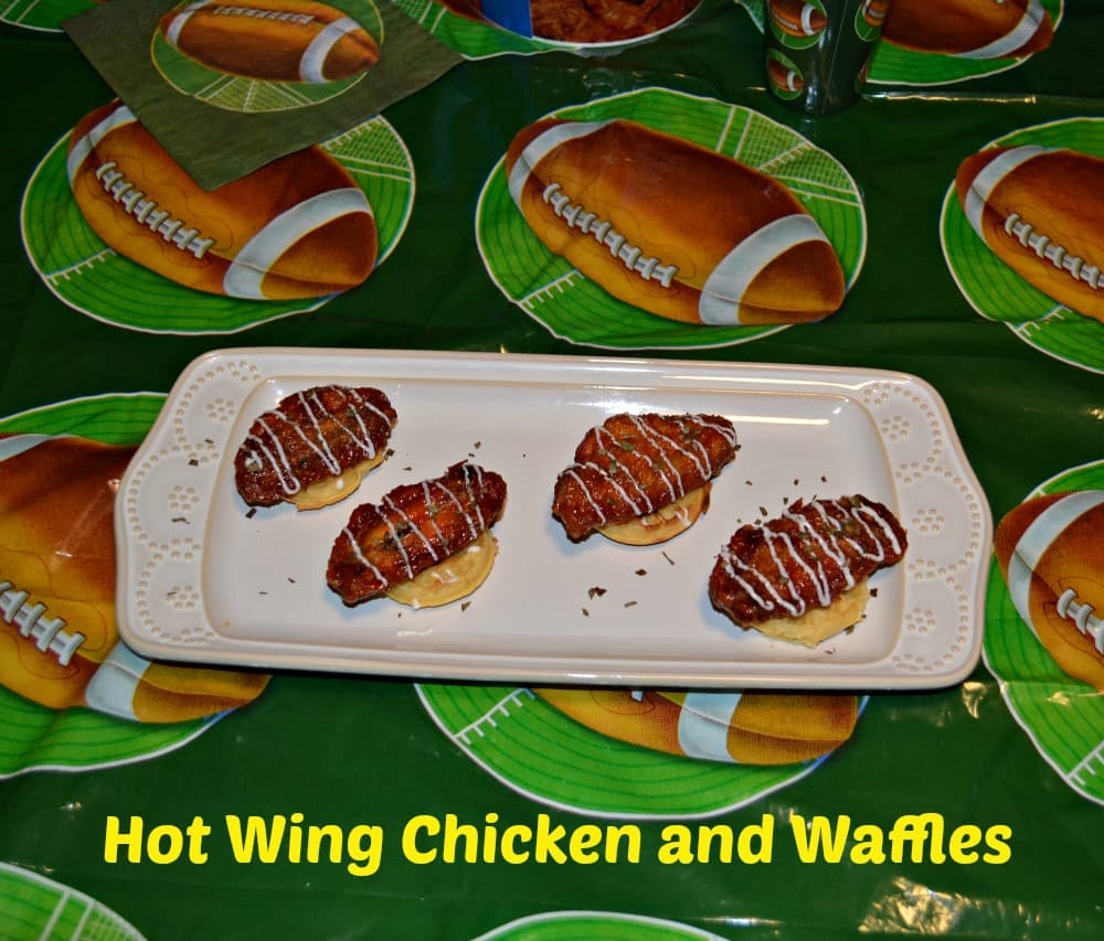 Hot Wing Chicken and Waffles appetizer are an easy 4 ingredient party food!