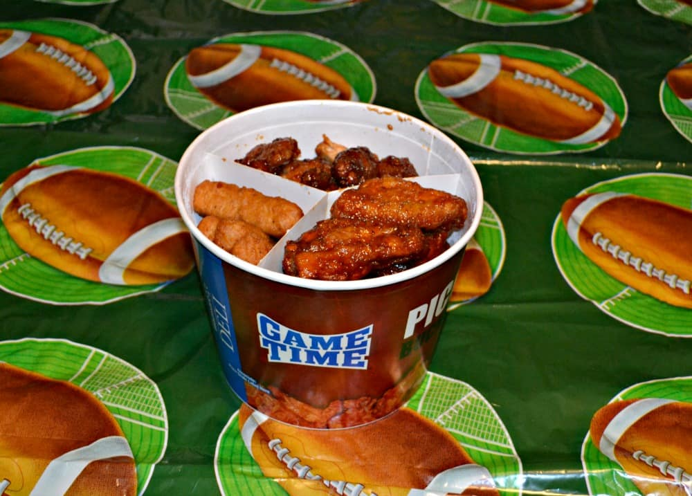 The Game Time Pick 3 Bucket at Walmart combines ready to eat Tyson wings and other fun appetizers!