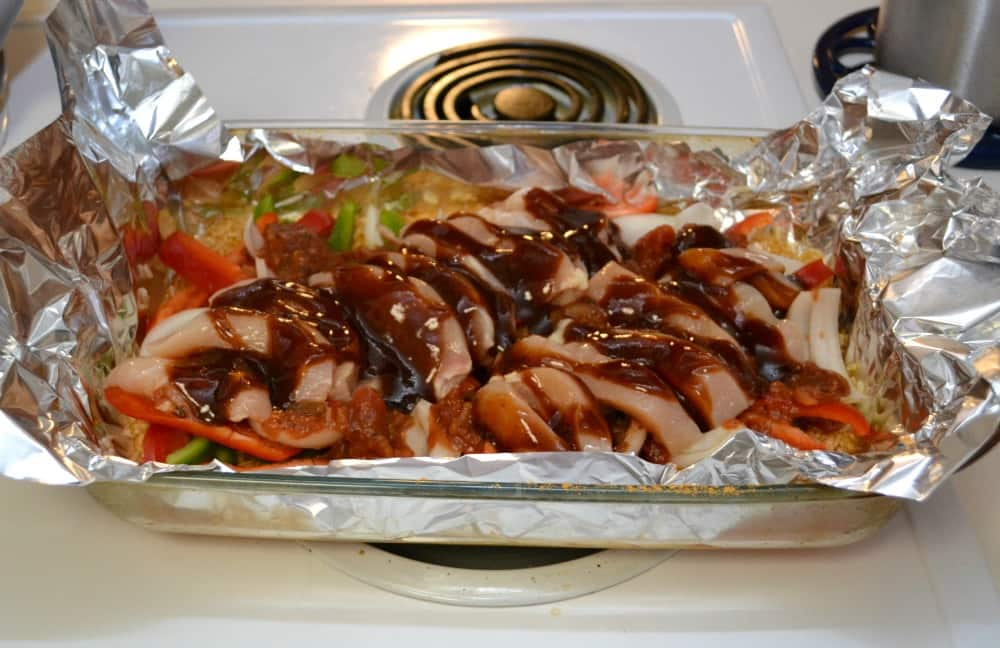 BBQ Chicken Fajitas made in the oven for a quick and easy dinner!