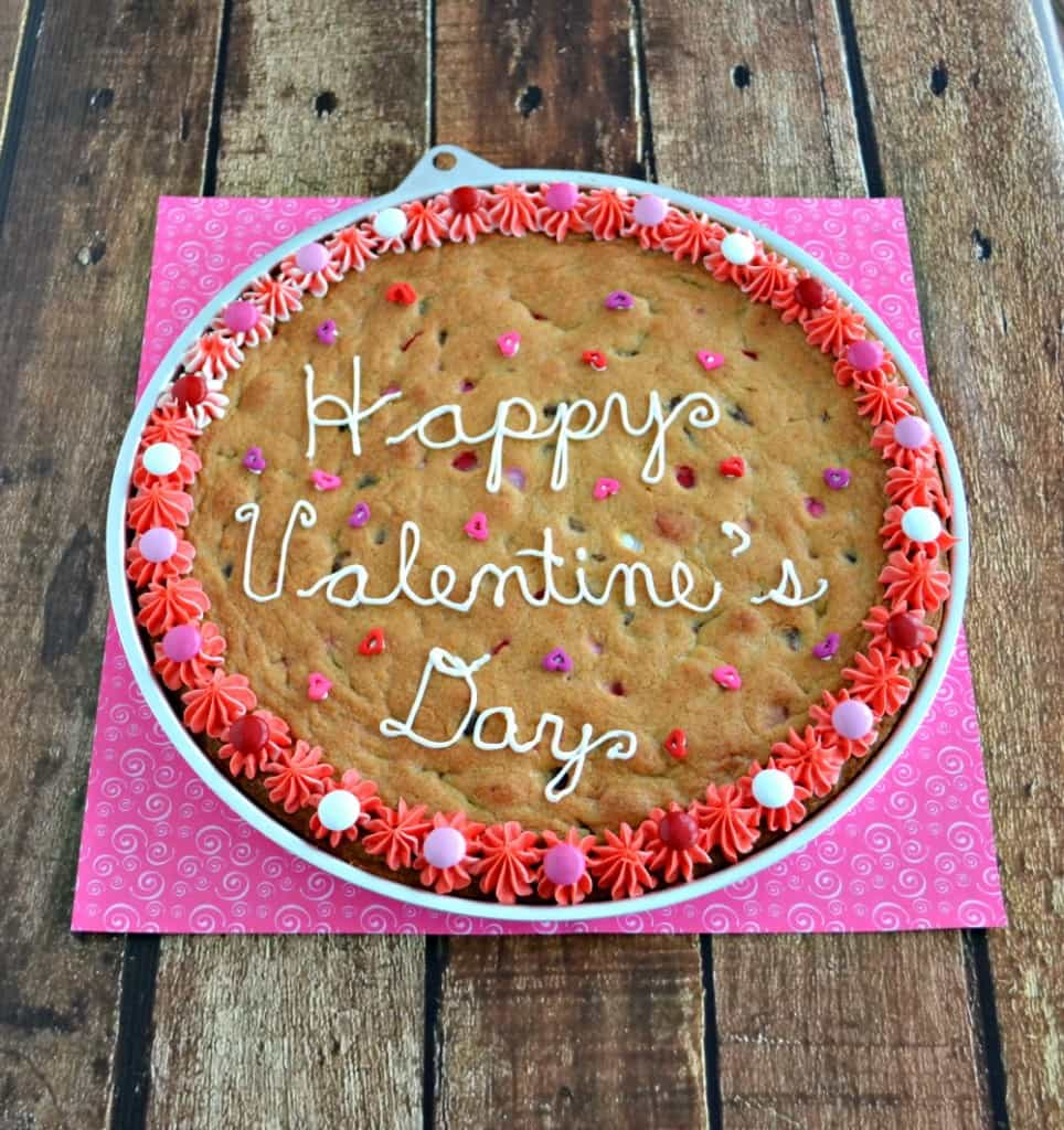 Chocolate Chipe Cookie Cake with Valentine's Day M&M's