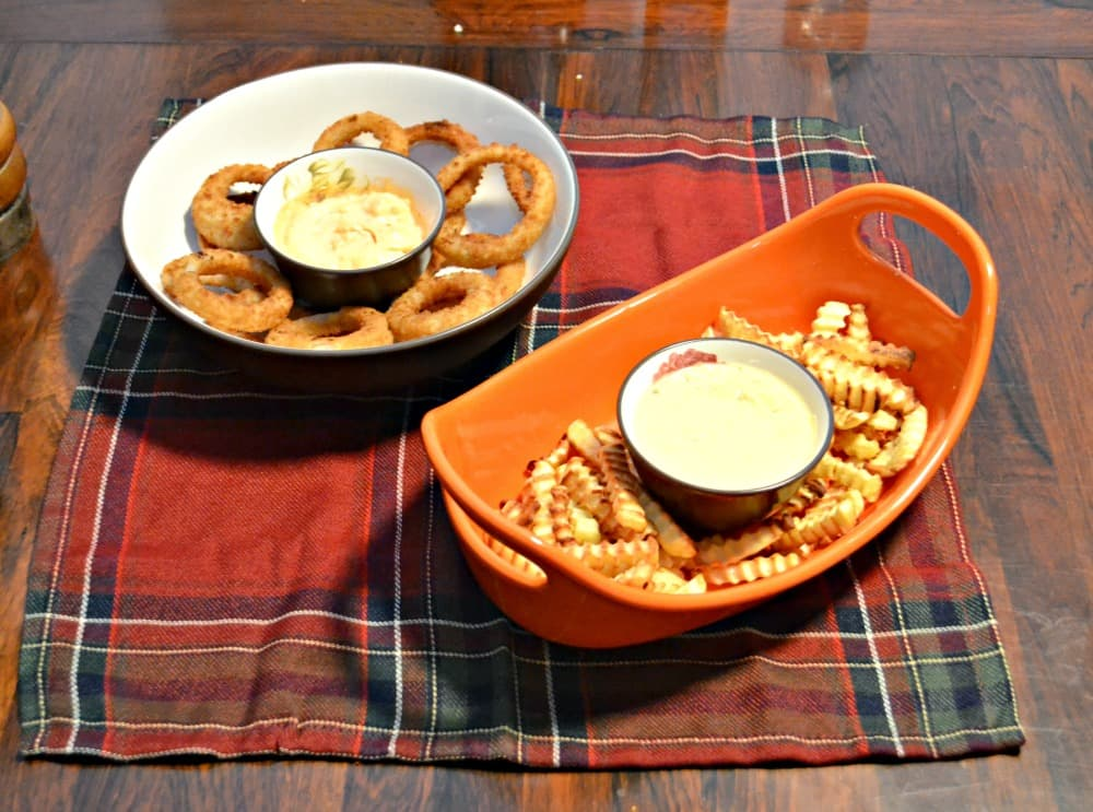 Game Day Grub gets awesome with Alexia fries and onion rings with dipping sauces!