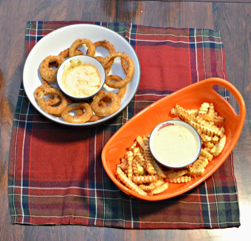 Fries with Jalapeno Cheddar Dip and Onion Rings with Sriracha Mayo