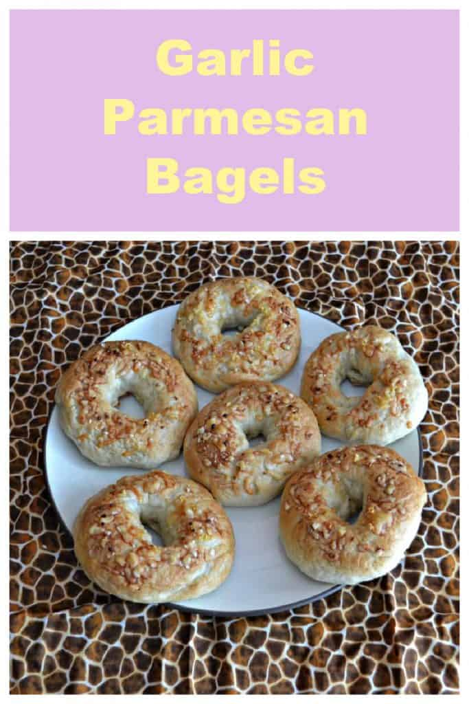 Pin Imaage: Text, a plate with six Garlic Parmesan Bagels on it.