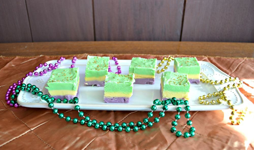 Mardi Gras three layer fudge in purple, gold, and green!