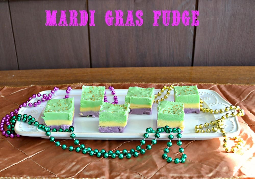 Fun Mardi Gras Fudge with layers of gold, green, and purple