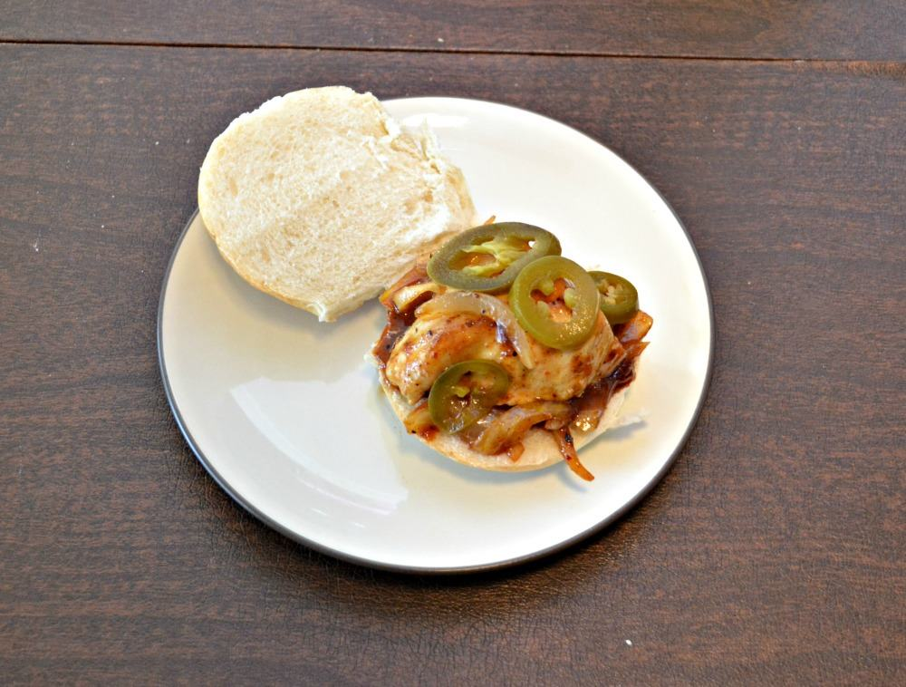 Spicy BBQ Chicken Sandwich topped with jalapenos and Pepper Jack Cheese
