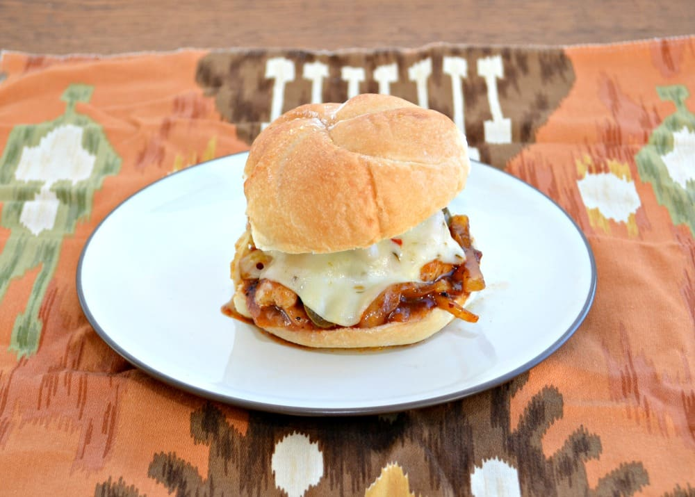 Spicy BBQ Chicken Sandwich with jalapenos and Pepper Jack Cheese
