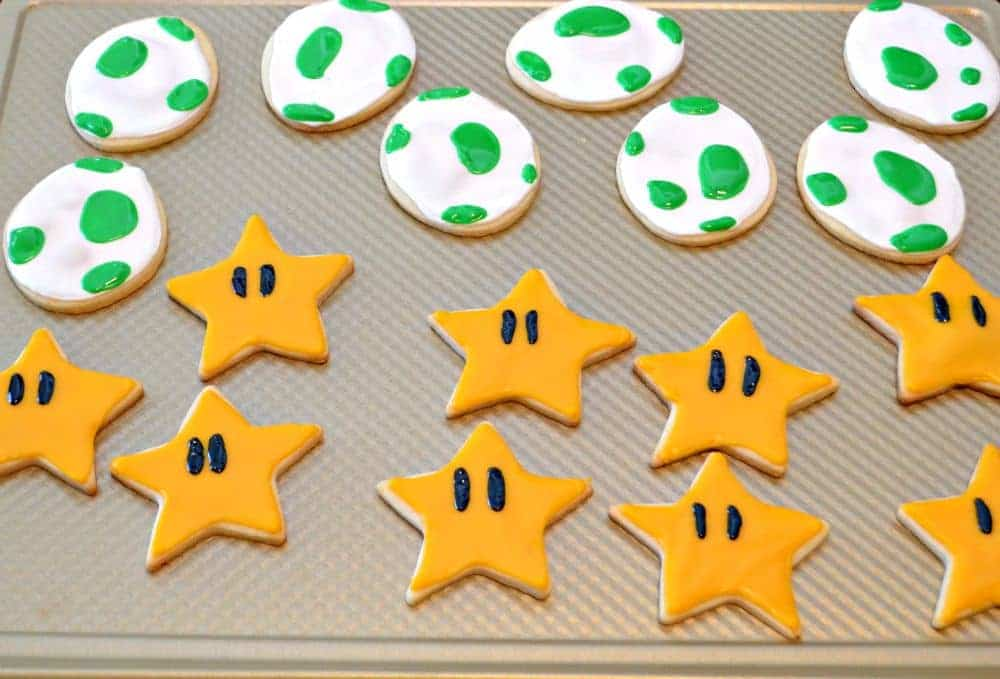 Fun Mario Sugar Cookies: Stars and Dinosaur Eggs