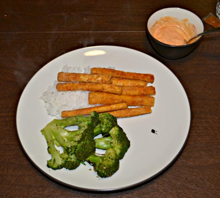An awesome vegan meal: Tofu fries and broccoli steaks