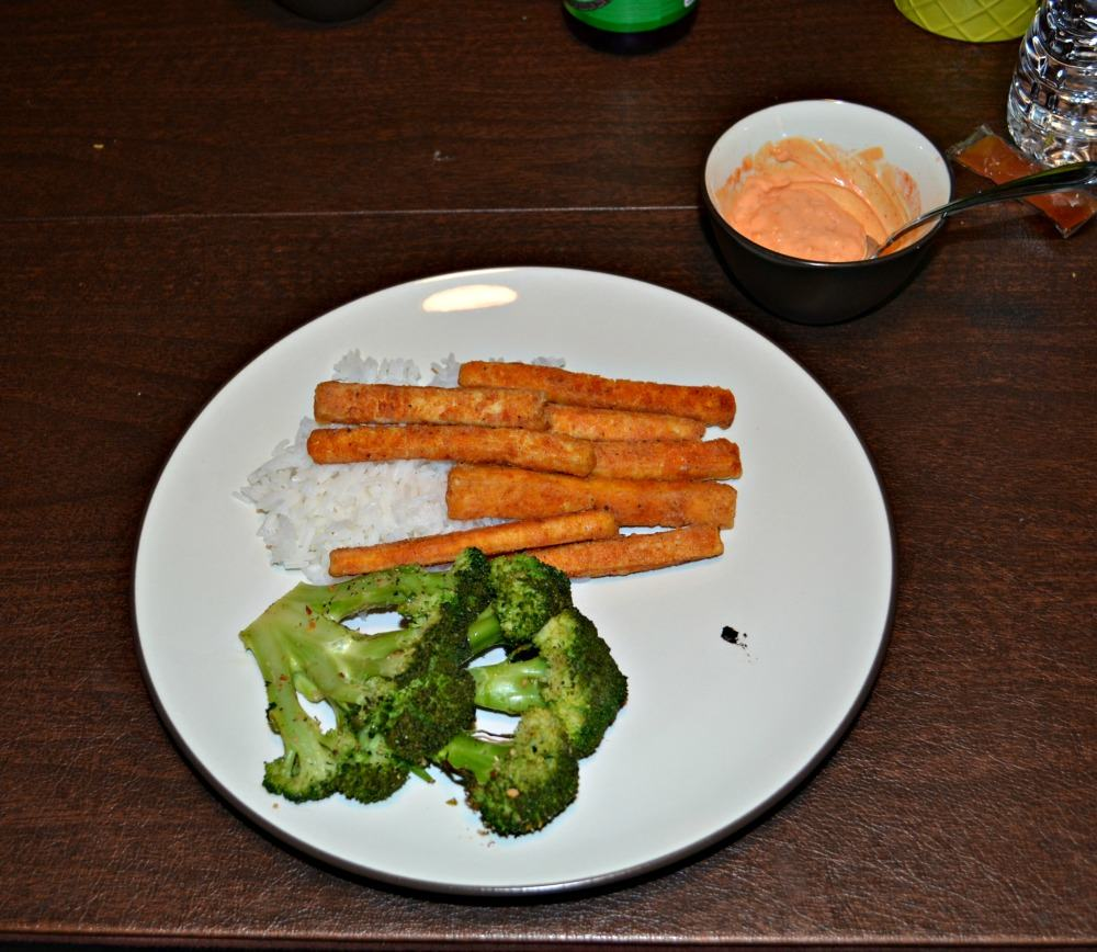 Delicious crispy tofu fries served with soy broccoli steaks served over rice
