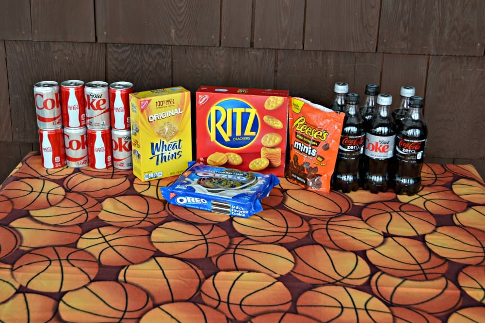 Basketball Party with Coke, OREO Cookies, Wheat Thins, Ritz Crackers, and Reese Mini Peanut Butter Cups