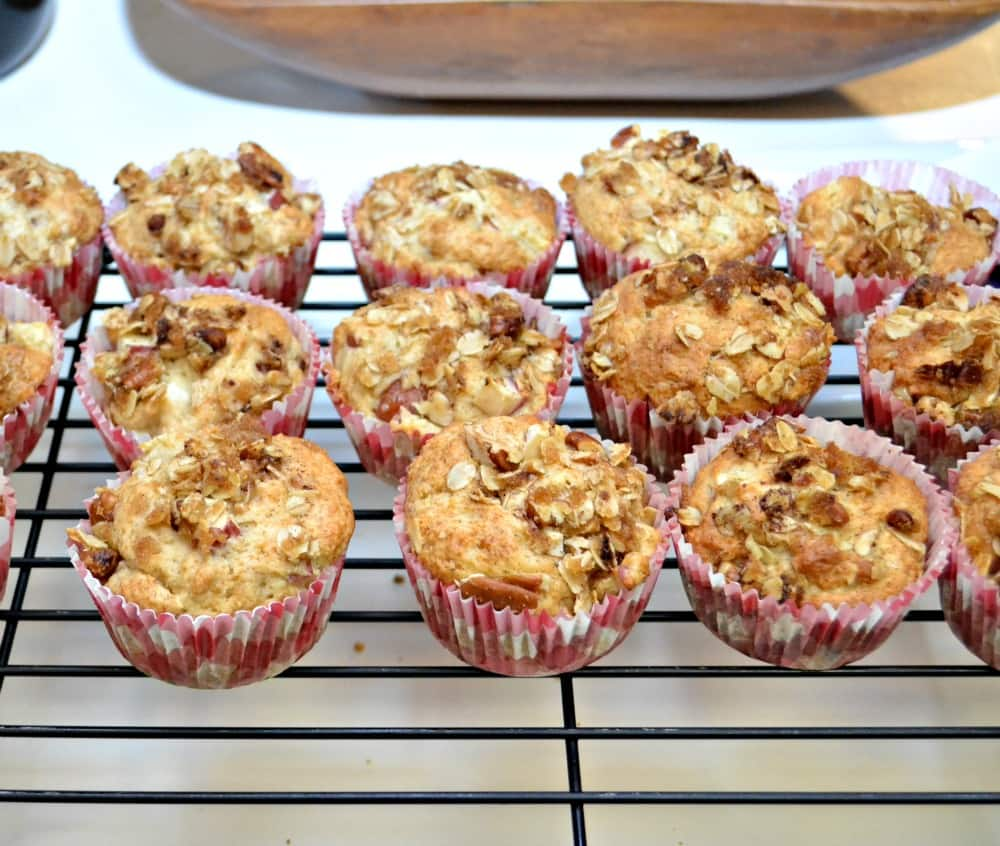 Delicious Apple Pecan Muffins topped with a crunchy oat and pecan topping