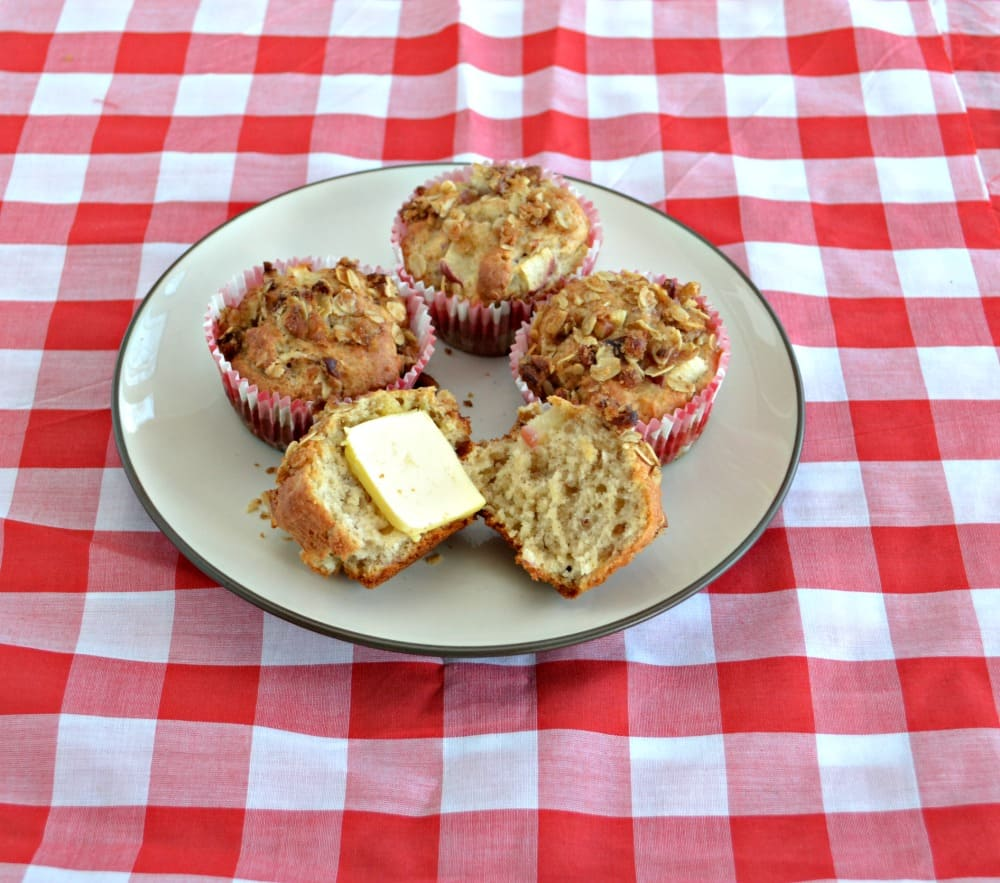 Apple Pecan Muffins are moist and delicious with a crunchy topping.  They taste even better with Finlandia Importer Butter.