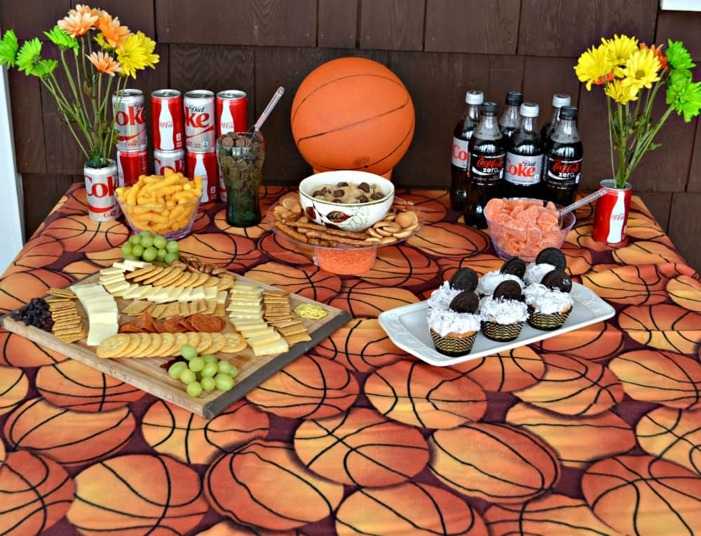 Host the best Basketball Party this spring with Coke, OREO cupcakes, Reese Peanut Butter Cup Dip, and a gourmet Cheese Board