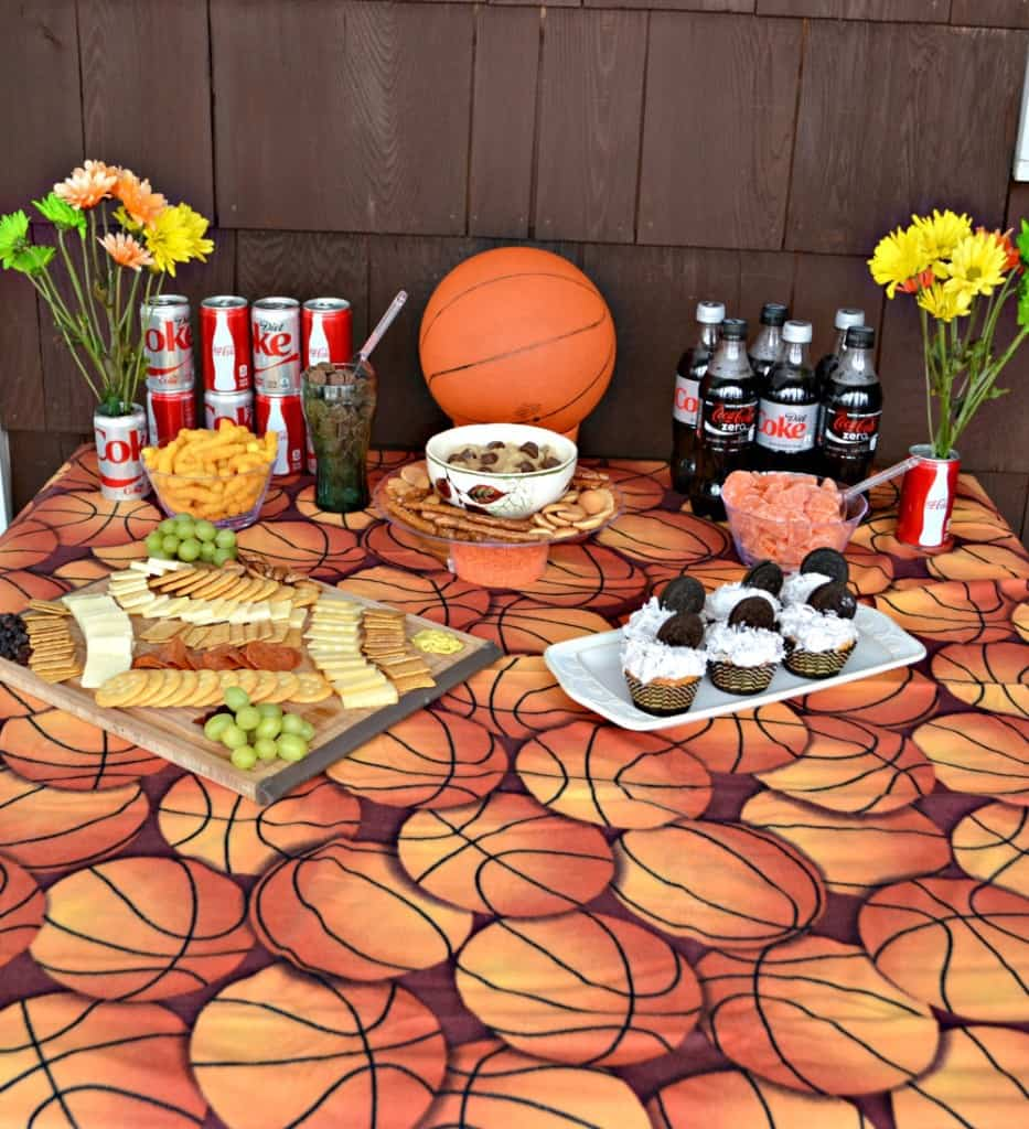 How to Host a Basketball Party with recipes for OREO Cupcakes, Reese Peanut Cup Dip, and How to Make a Cheese Board