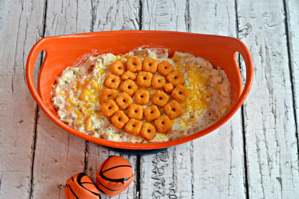 Cheesy Chicken Ranch Dip with a Cheez-It Crunch'd Basketball on top!