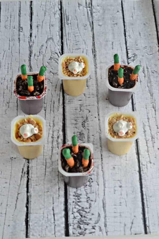 "Fun Easter Pudding Cups with Bunny Butts and Chocolate Covered ""Carrots"""