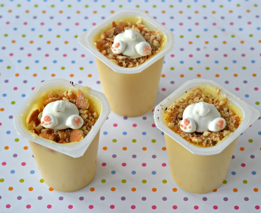 Vanilla Snack Pack Pudding Cups with Easter Bunny Butts