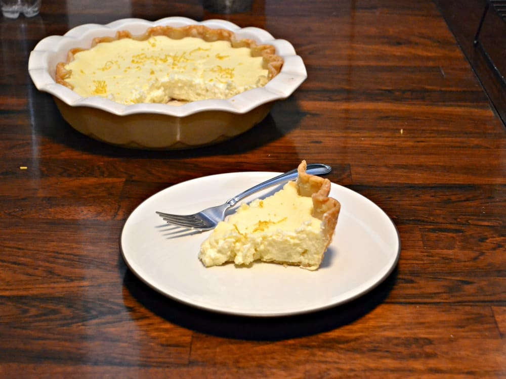 Sweet and tart Lemon Cheesecake Pie is bright and delicious!