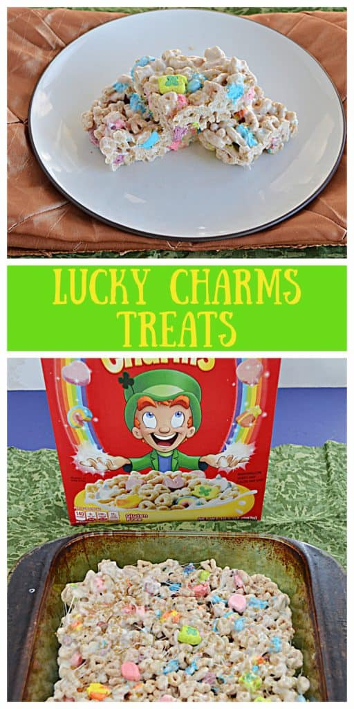 Pin Image: A Plate with 3 Lucky Charms Treats on it, text, a box of Lucky Charms cereal with a pan of Lucky Charms Treats in front of it.