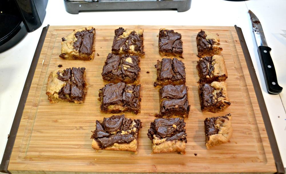 Amazing Peanut Butter Bars swirled with chocolate and filled with chocolate chips