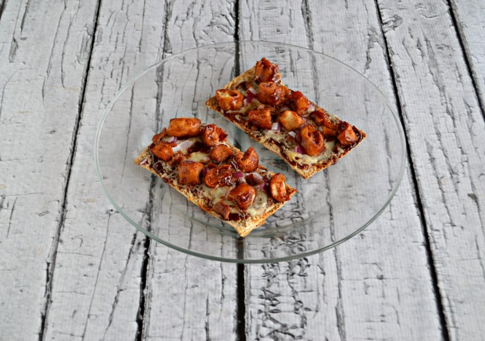 BBQ Chicken Flatbread PIzza made with chicken, bacon, onions, BBQ sauce, and Toufayan Bakeries Smart Pockets