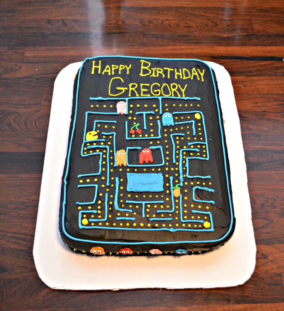 This PacMan Cake is filled with chocolate and is great for a Video Game party!