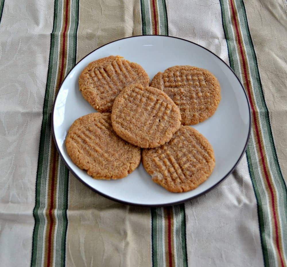 Three Ingredient Peanut Butter Cookies are gluten free and use Stevia in place of sugar!