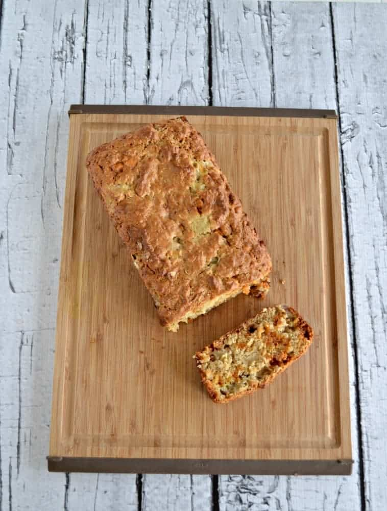 Brown Butter Banana Butterscotch Bread with Oats is great for breakfast or dessert.