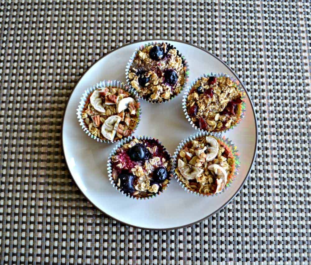 Delicious and healthy individual baked oatmeal bites with a variety of mix-ins.