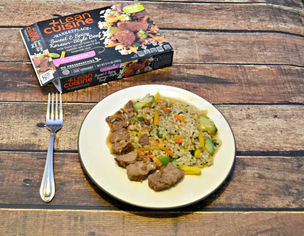 Lean Cuisine Sweet & Spicy Korean Beef has a tasty Korean sauce on it and it's high in protein!