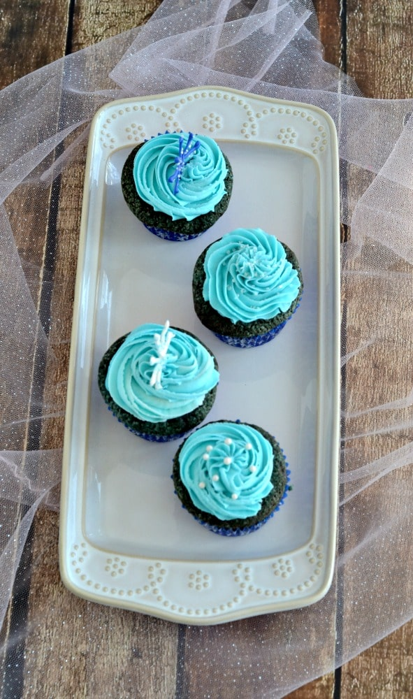 Blue Velvet Cupcakes are a delicious dessert!   Add some red strawberries for a red, white, and blue treat!