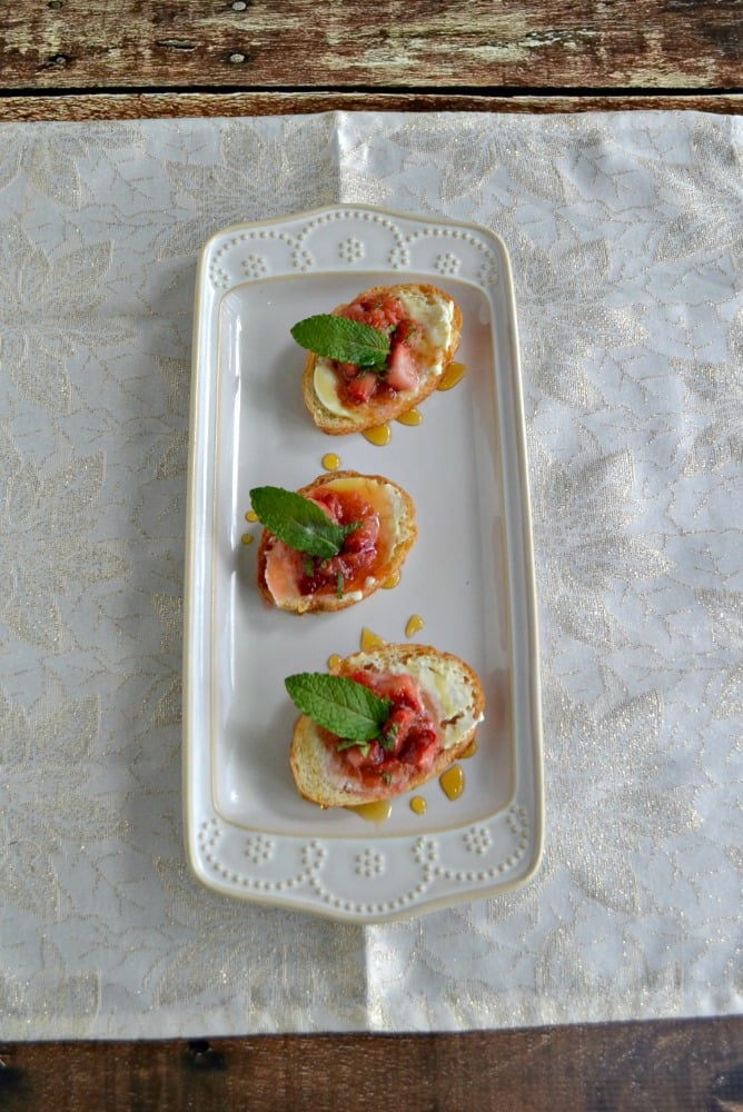 Crostini with Mascarpone and Strawberry Rhubarb Compote is a great summer recipe.