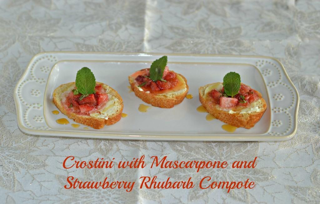 Crostini with Mascarpone and Strawberry Rhubarb Compote is a fabulous summer recipe.