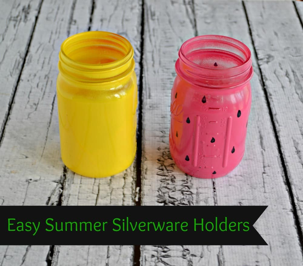 DIY Summer Silverware Holders in Lemon Yellow and Pink Watermelon