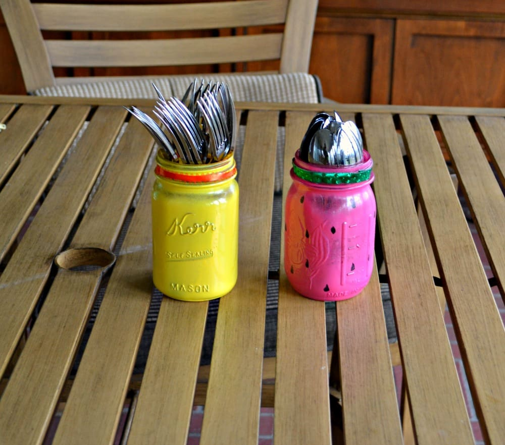 DIY Summer Silverware Holders can be made in just minutes!   Cute Lemon Yellow and Pink Watermelon are featured here.