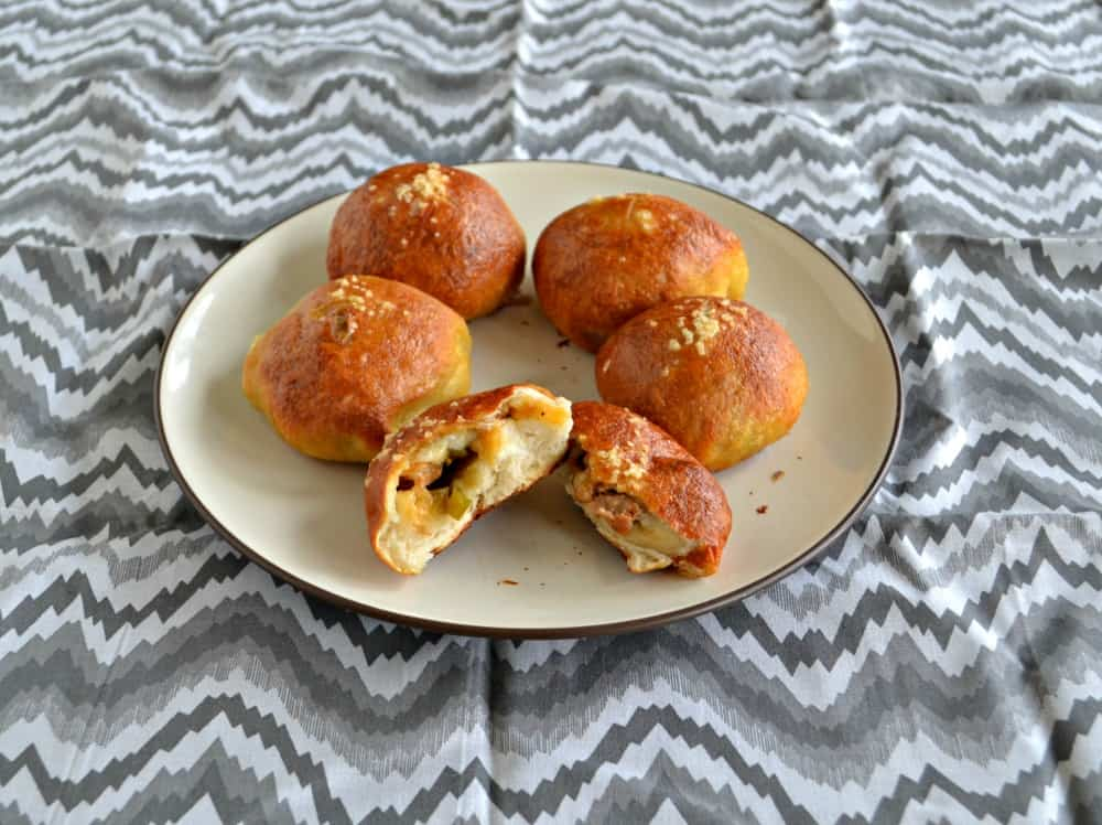 Jalapeno Cheddar Stuffed Pretzel Rolls are great as an appetizer or a snack!