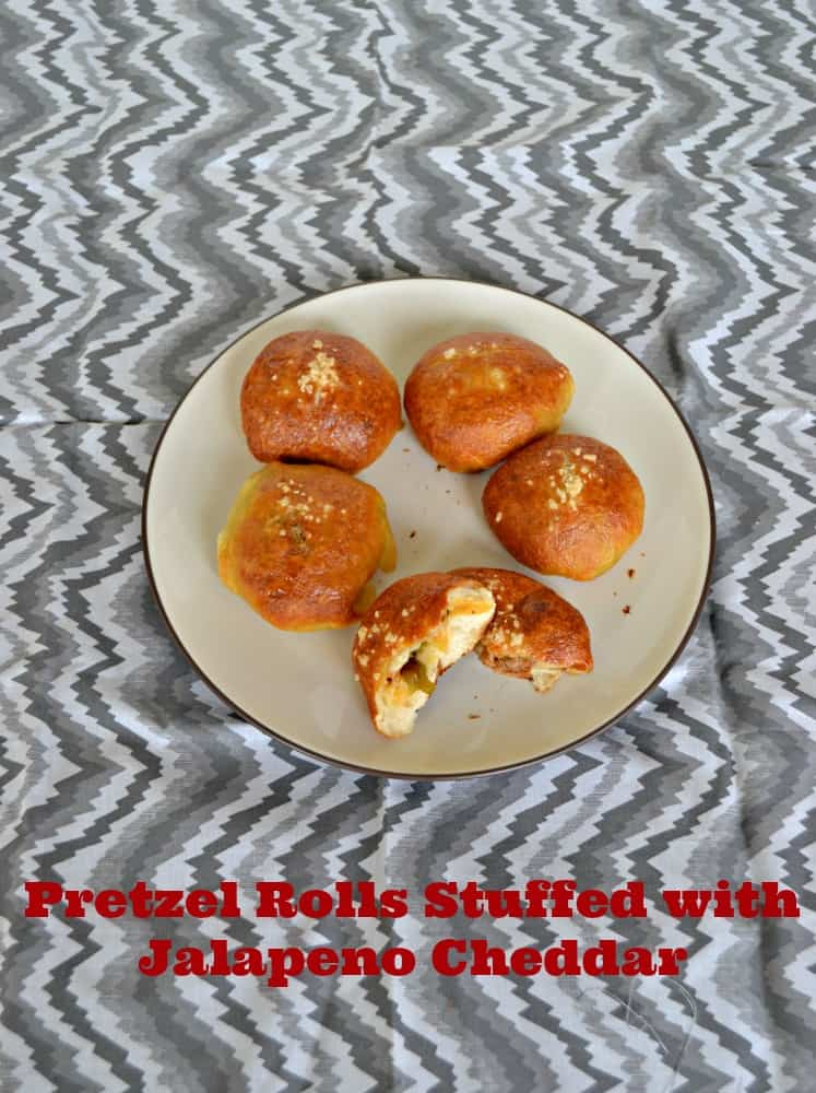 Tasty Homemade Pretzel Rolls stuffed with Jalapenos and Cheddar Cheese