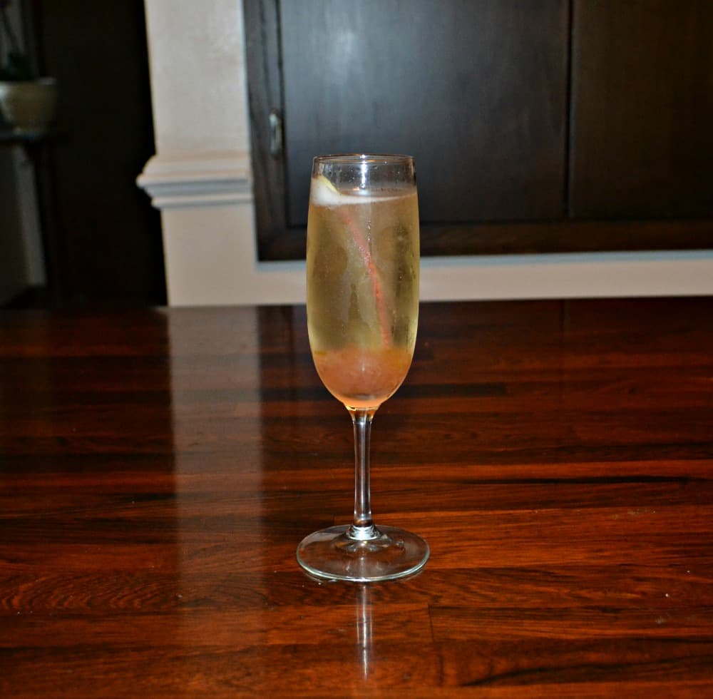 Spiced Rhubarb Champagne Spritzer is a refreshing combination of spiced rhubarb syrup and cool champagne
