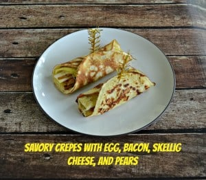 Savory Breakfast Crepes with Egg, Cheese, Pears, and Bacon
